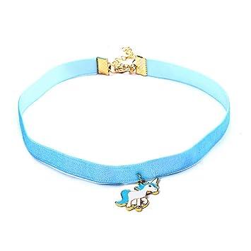 acf497c758b2 Scrox 1pcs Colgantes Mujer Plata Moda Choker Collares Unicornio Niña Joyas  para Mujer Ribbon Collar Corto Exquisito Regalos Originales (Azul)   Amazon.es  ...