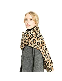 Xinqiao Women's Long Scarf Warm Thick Blanket Winter Shawl Leopard Print Wrap