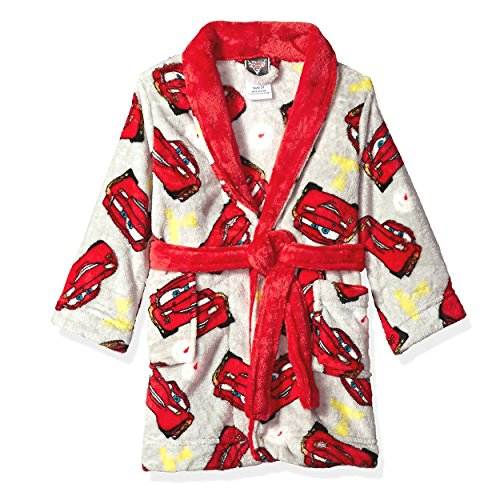 Boys Disney Lightning Mcqueen Cars (Disney Cars 3 Lightning McQueen Boys Fleece Bathrobe Robe (4T, Grey/Red))
