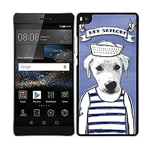 Funda carcasa para Huawei P8 Lite diseño dibujo perro hey sailor marinero borde negro