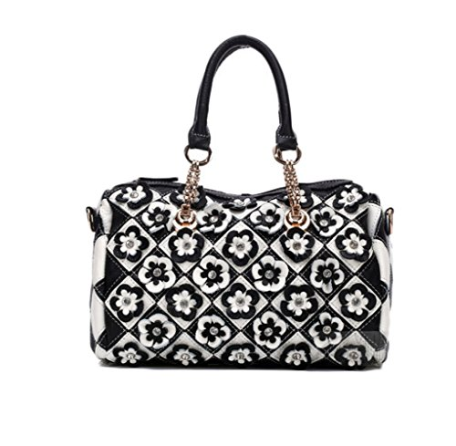 RENHONG Bolso De Cuero Para Mujer Fashion Print Color De Flor Black And White Black