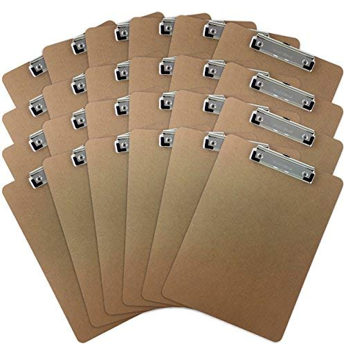 Trade Quest Letter Size Clipboard Low Profile Clip Hardboard (Pack of 24) by Trade Quest