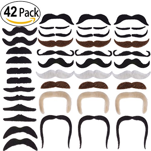 PChero Pack of 42 Pieces - 16 Designs Novelty Fake Mustaches, Self Adhesive Beard for Funny Cosplay Party Christmas Props, Perfect for Masquerade Party & - Styles Of And Beards Mustaches