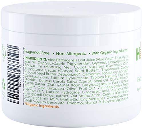 Face and Body Moisturizer Cream - Organic Aloe Vera and Manuka Honey for Rosacea Eczema Psoriasis Rashes Itchiness Redness - Natural Organic Cracked Skin Relief - Anti Aging - Anti Wrinkle (4 oz)