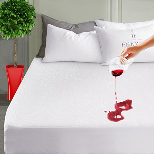 LEISURE TOWN Mattress Pad Protector Queen Waterproof Mattress Pad Cover Breathable Fitted 8 to 21 Inches Deep Pocket
