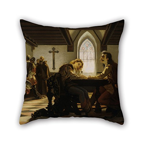 Uloveme Throw Pillow Covers Of Oil Painting Madarász, Viktor - Péter Zrínyi And Kristóf Frangepán In Prison At Wiener Neustadt 16 X 16 Inches / 40 By 40 Cm,best Fit For Kids Room,wife,boy (Princess In Prison Costume)