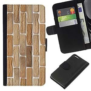 KLONGSHOP // Tirón de la caja Cartera de cuero con ranuras para tarjetas - Textura de la pared - Apple Iphone 5C //