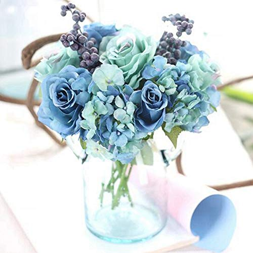 PatyHoll 1Set Simulation of Roses Blue Hand Tied Bouquet Silk Flower Wedding/Holiday Decorations Table