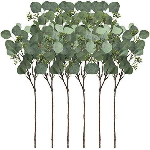SUPLA 6 Pcs Faux Eucalyptus Leaves Spray Artificial Seeded Silver Dollar Eucalyptus Leaves Branches in Grey Green 25.5