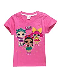 Girls Toys Short Sleeve T-Shirt Printed with Doll LOL Surprised, 100% Cotton Made