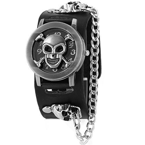 ALIENWOLF Fashion Men Punk Rock Skull Skeleton Leather Band Unisex Bracelet Wrist ()