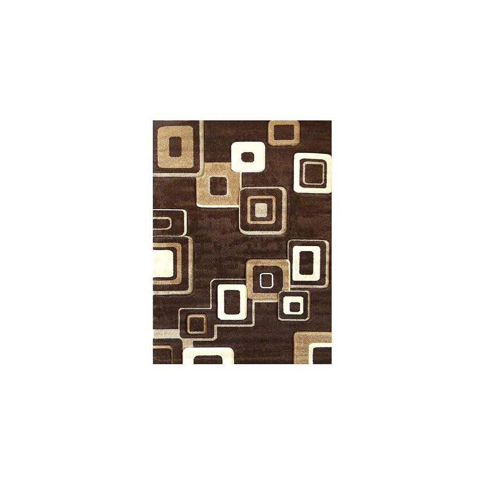 Donnieann Studio 607 Geometric Design 5 by 7 Feet Area Rug, Brown