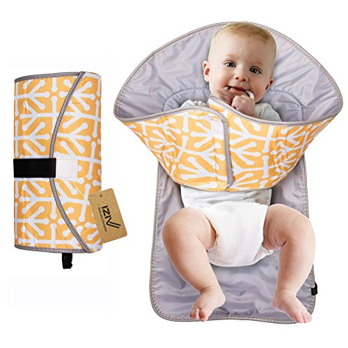 iZiv Portable Clean Hands Changing Pad, 3-in-1 Diaper Clutch, Changing Station, Diaper-Time Playmat with Redirection Barrier for Use With Infants, Babies and Toddlers (Yellow)