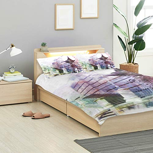 KVMV Dresden Watercolor Germany Duvet Cover Set Design Bedding Decoration Twin XL 3 PC Sets 1 Duvets Covers with 2 Pillowcase Microfiber Bedding Set Bedroom Decor Accessories