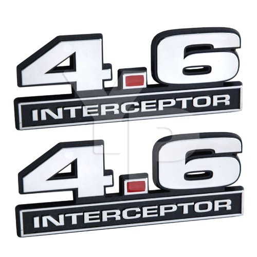 Chrome 4.6 Police Interceptor Emblems w/Red Decimal Point - Pair