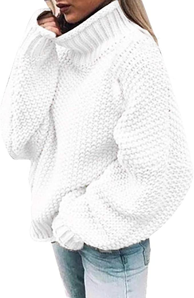 Pull Femme col roulé Hiver Tricot Pas Cher Chic Large en Maille Chauve Souris Manches Longues Automne Hiver Chaud ÉPais Decontracté Pullover