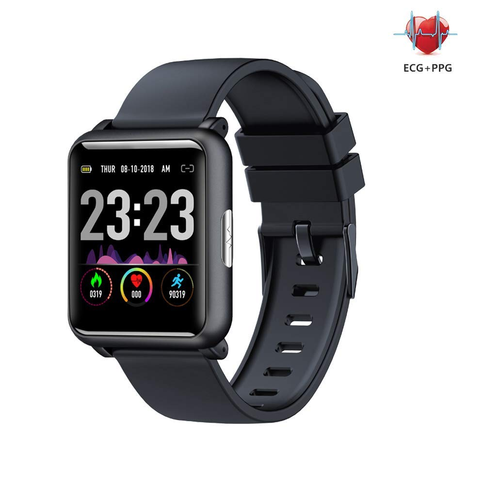 Bchance Fitness Tracker with Heart Rate Monitor, IP68 Waterproof Activity Tracker PPG Blood Pressure Monitor Colorscreen Smart Bracelet Calorie Counter Pedometer Sport Mode for Kids Women Men - Black