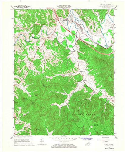 YellowMaps Clay City KY topo map, 1:24000 Scale, 7.5 X 7.5 Minute, Historical, 1966, Updated 1968, 27.4 x 22.6 in - Paper