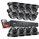 SANNCE 16-Channel 2TB Hard Drive Home Security Camera System, 1080P HD-TVI DVR Recorder and (12) 2.0MP 1080P 100ft Night Vision Indoor/Outdoor Weatherproof Surveillance Dome Cameras