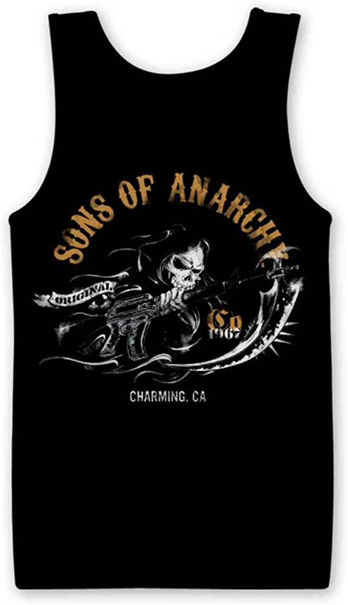 / Licenza Ufficiale/  Sons of Anarchy Charming California Canottiera per Donna/  / Cotone/  / Nero / con Top/