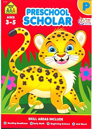 School Zone - Preschool Scholar Workbook - 64 Pages, Ages 3 to 5, Preschool to Kindergarten, Reading Readiness, Early Math, Science, ABCs, Writing, and More]()