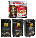 Set Italian Coffee: Kimbo Classico, Filicori Moka, Filicori Moka 100% Arabica, Filicori Espresso * 8.8 Ounce (250gr) Packages (Pack of 5 Assorted) * [ Italian Import ]