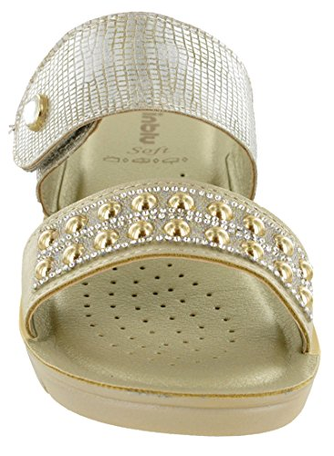 Womens Velcro Soft Slip 'NF002' Strap Inblu Jewelled On Sandals Wedge Platin E0qRwOz