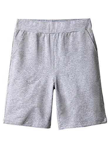 Gooket Women's Elastic Waist Comfy Jersey Knit Pull-On Bermuda Shorts with PocketsGrey Size XL
