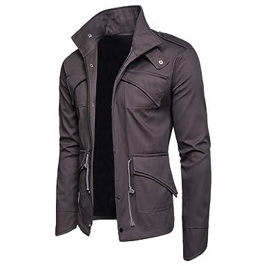 Plot Herren Herbst Winter Einfarbig Lange Ärmel Revers Sweatshirt Jacke  Mantel mit Reißverschluss  Amazon.de  Bekleidung b92aec2139