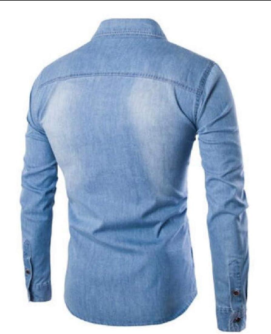 Britainlotus Mens Fashion Casual Dress Shirt Button Down Shirts Long-Sleeve Cotton Denim Shirt