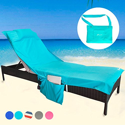 (YOULERBU Beach Chair Cover Towel with Pillow,Pool Lounge Chaise Towel Cover with Detachable Side Pockets Holidays Sunbathing Quick Drying Towels)