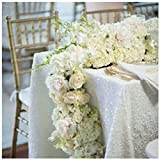 White Tablecloth 60x102-Inch Rectangle Shiny White Sequin Table Cloth Twinkle Twinkle Little Star Decorations Baby Shower ~0815S