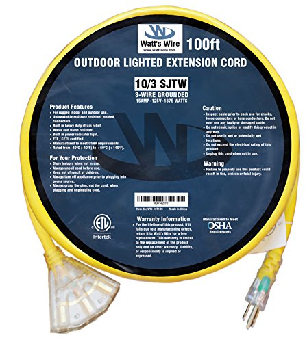 100ft 10 Gauge Heavy Duty Indoor/Outdoor SJTW Lighted Triple Outlet Extension Cord by Watt's Wire - 100' 10/3 Rugged Lighted Grounded Pigtail Power Cord - 10AWG 125Vac 15Amp 1875Watt by Watt's Wire (Image #5)