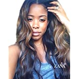 ZANA Brazilian Virgin Remy Hair Lace Front Wigs with Baby Hair Body Wave Ombre Human Hair Wigs for Black Women Glueless 150 Density