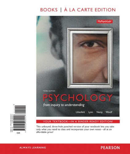Psychology: From Inquiry to Understanding -- Books a la Carte (3rd Edition)