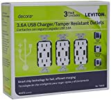 Leviton T5632-3BW 15-Amp USB Charger/Tamper Resistant Duplex Receptacle, White