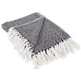 DII 100% Cotton Basket Weave Throw for Indoor/Outdoor Use Camping Bbq's Beaches Everyday Blanket, 50 x 60'', Black