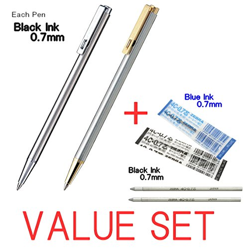 Zebra Mini Ballpoint Pen/0.7mm Black Ink/T-3 (Silver Body) & T-5(Silver+Gold Body) each 1Pen + 2 Refills(1Black Ink & 1Blue Ink) Value Set/With Our Shop Original Product Description