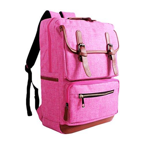 ZKOO Multifunción Mochilas Mujer Hombre Lona Escolares Mochilas Laptop Backpack Daypacks Mochila de Viaje Bolsa De Hombro Casual Rosa
