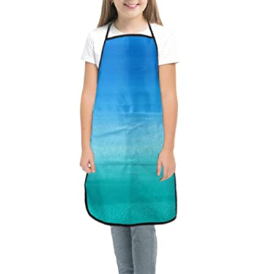 WBSNDB Kids BBQ Apron Watercolor Blue Teal Watercolour Apron Kids Cooking Teen Aprons for Cooking Waterproof with Pocket for Cooking Baking Painting and Party: Home & Kitchen