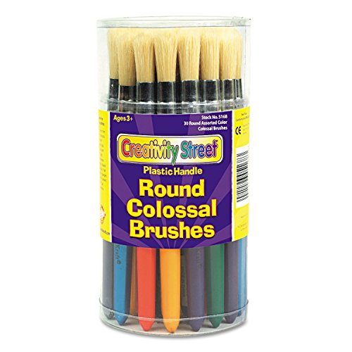 Round Natural Bristle Colossal Brushes, Colored Wood Handles, 30 per Container