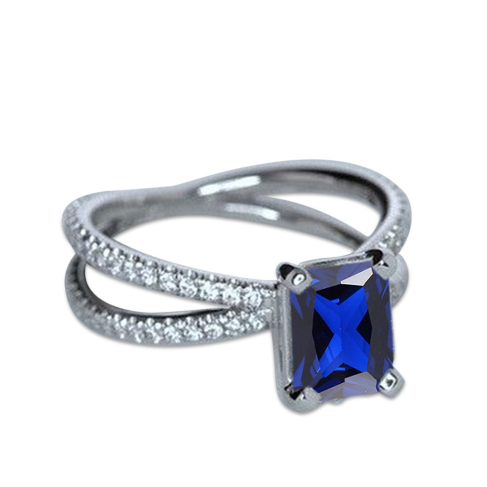 59 (18.8) Vorra Fashion Smaragdschliff Blau Saphir 925 Sterling Silber Damen-Ring Infinity Verlobungsring