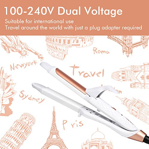 AmoVee 2 in 1 Mini Flat Iron Curling Iron Travel Hair Straightener with Ceramic Tourmaline Coated, Dual Voltage, 1 inch, Carry Bag Included, White
