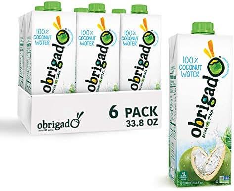 Obrigado Premium Brazilian 100% Coconut Water, No Sugar Added, 1 Liter (33.8 oz) (6 Count)