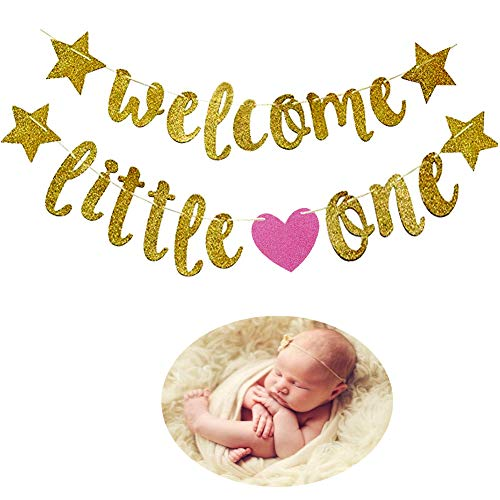 Mity Rain Welcome Little One Banner- Glitter Gold