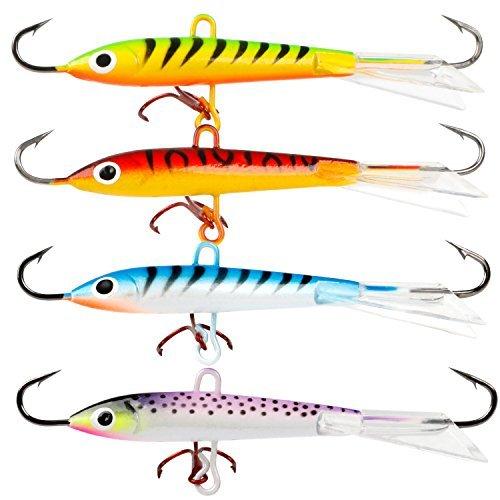 Sougayilang Ice Fishing Lures with 3 Sharp Hooks Winter Lifelike Fishing Baits Ice Jigging Lures Kit for Bass Walleye (4 Pcs,4 Colors) - Ice Fishing Walleye