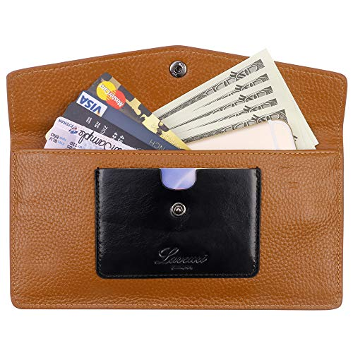 Ultra Thin Envelope - Lavemi RFID Blocking Ultra Slim Real Leather Credit Card Holder Clutch Wallets for Women(Envelope Brown)