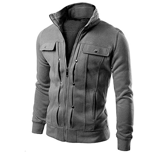 (MRstriver Jacket Causal Men's Coat Zipper Tracksuit Jacket Spring Autumn Mens Jackets and Coats New Dark Grey)