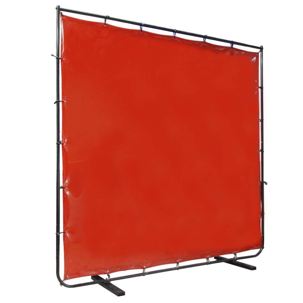 VIZ-PRO Red Vinyl Welding Curtain/Welding Screen With Frame, 6' x 6' by VIZ-PRO