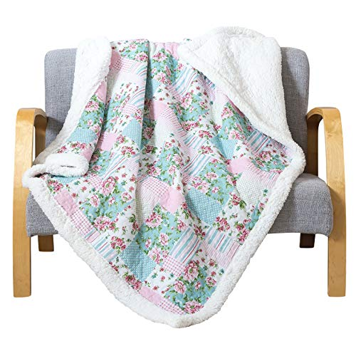 - Soul & Lane Printed Cotton Throw Blanket Layla Patchwork with White Fleece/Sherpa (50